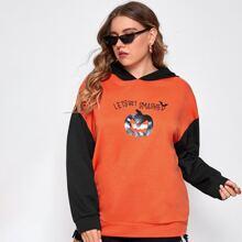 Plus Halloween Print Contrast Hooded Sweatshirt