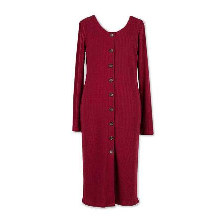 Speechless Big Girls Long Fitted Sleeve Shirt Dress, 12 , Red
