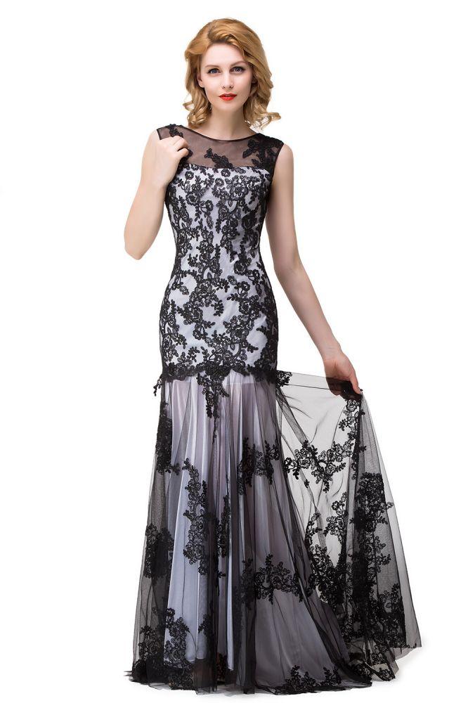 DANIELA | Scoop Neck Sirena apliques de encaje negro noche vestidos de baile