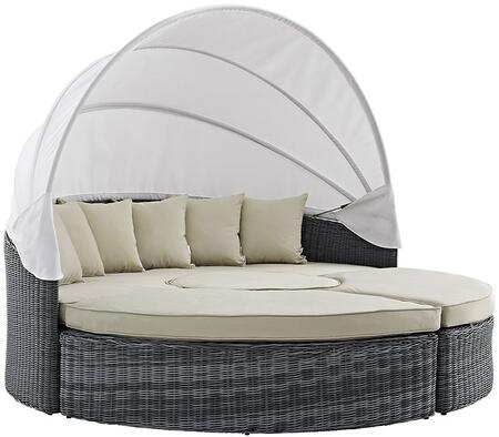 Summon Collection EEI-1997-GRY-BEI-SET 90 Canopy Outdoor Patio Sunbrella Daybed with Ottomans  End Table  Two-Tone Synthetic Rattan Weave  UV and