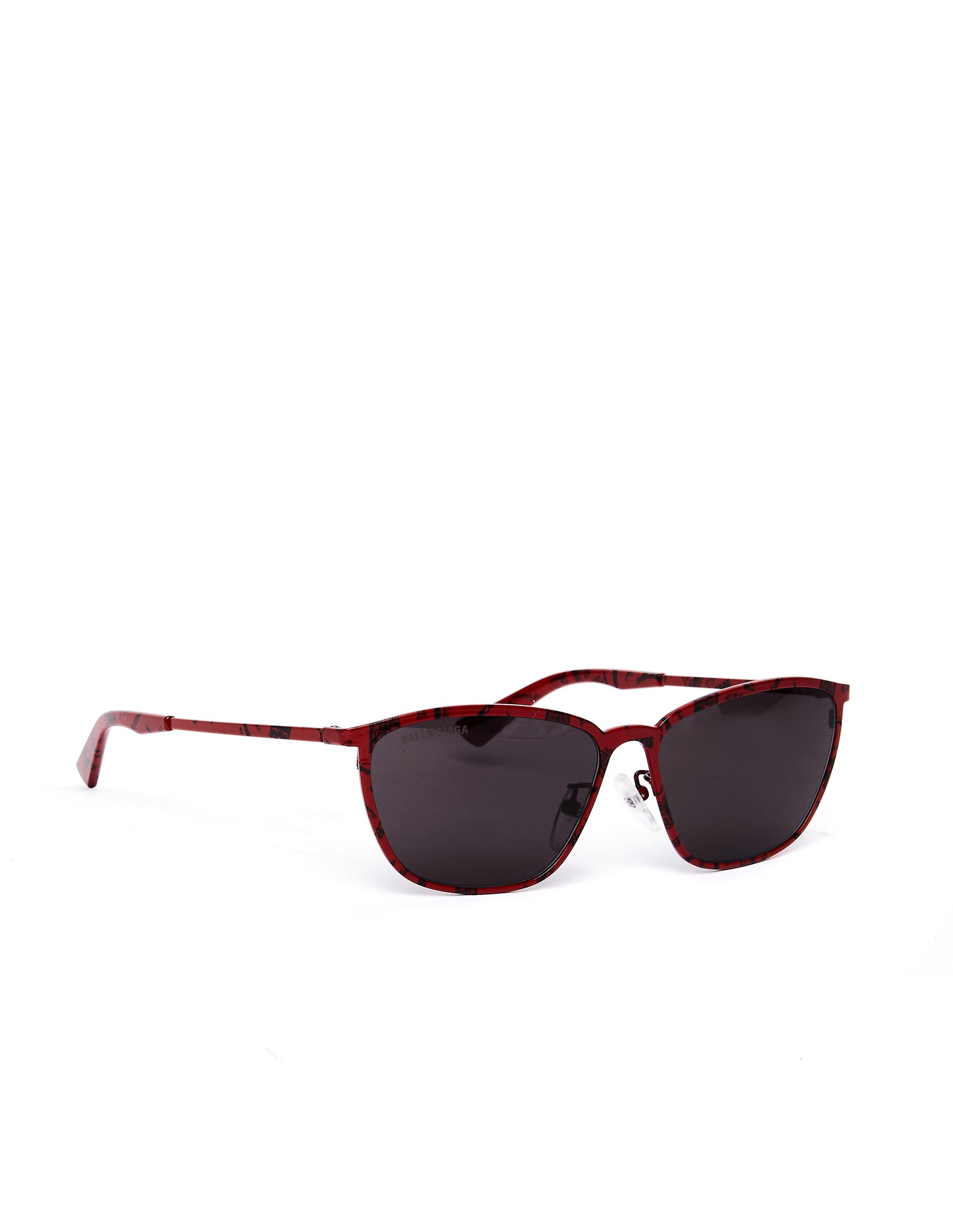 Balenciaga Red Paris Printed D-Frame Sunglasses