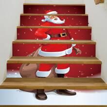6 piezas set pegatina de escalera con estampado de Santa Claus