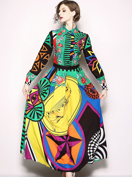 Milanoo Long Shirt Dress Green Printed Long Sleeve Spread Neck Maxi Drses