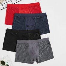 4 Stuecke einfarbige Boxer-Unterhose