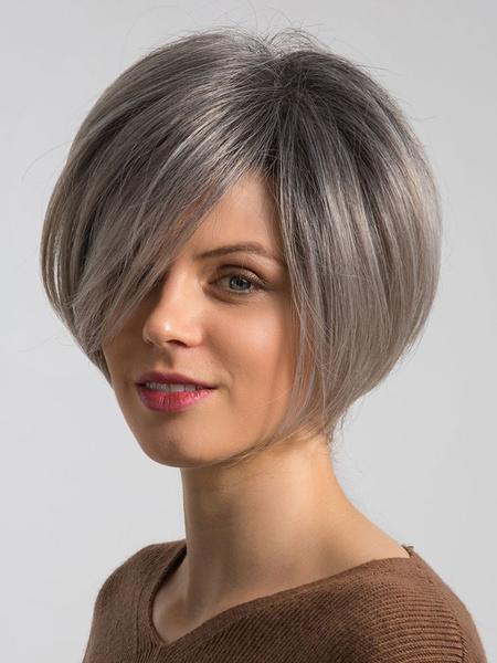 Milanoo Pelucas de cabello de mujer Pelos de separacion lateral gris Pelucas de cabello recto corto Pelucas de cabello humano