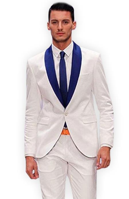 Mens White and Royal Blue Shawl Lapel Tuxedo Suit