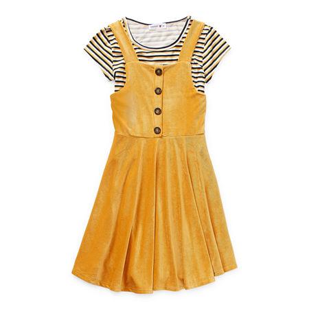 Beautees Casual Big Girls Sleeveless Dress Set, 12 , Yellow
