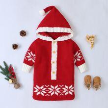 Unisex Strick Schlafsack mit Weihnachten Schneeflocke Muster