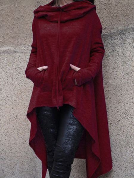 Yoins Burgundy Hoodie Sweatshirt with Irregular Hem