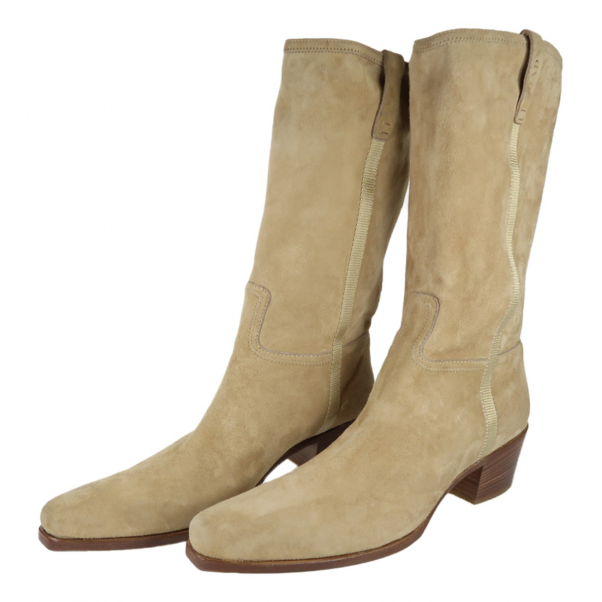 Prada - Bottes   pour femme en suede - camel