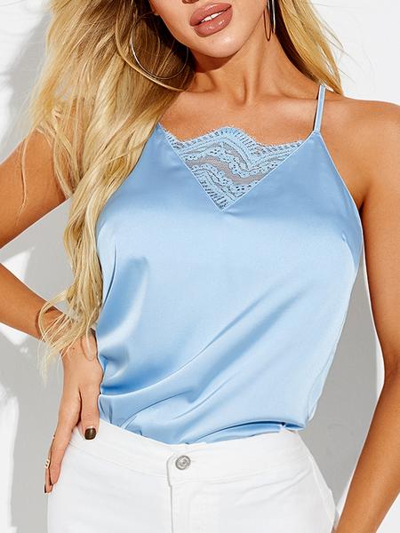 YOINS Blue Lace Insert Backless Design V-neck Cami
