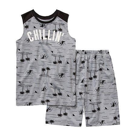 Arizona Little & Big Boys 2-pc. Shorts Pajama Set, Large (14-16) , Gray