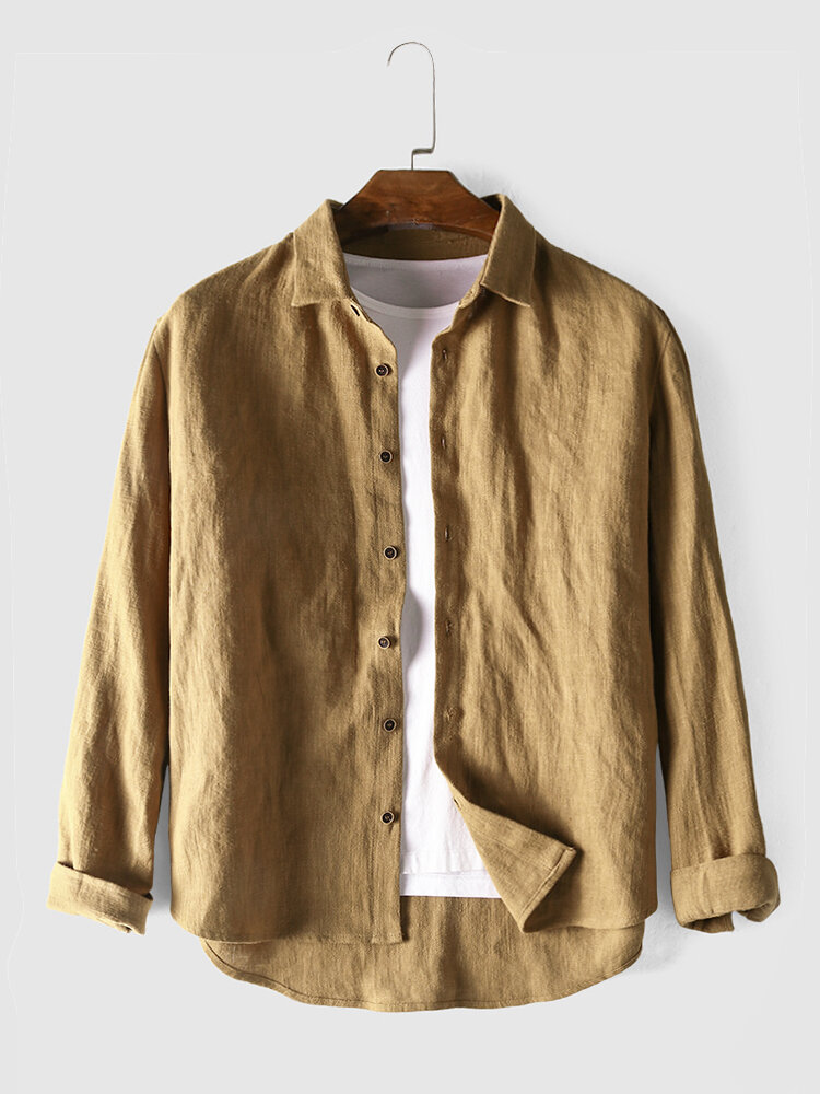 Mens Linen Casual Breathable Ramie Single Breasted Long Sleeve Shirts