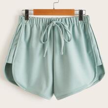 Solid Tie Front Shorts