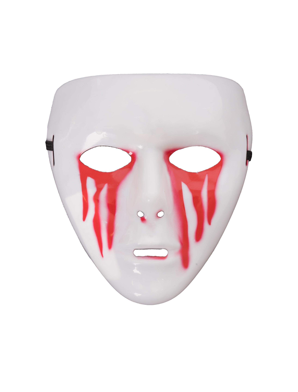 Kostuemzubehor Maske mit blutenden Augen Farbe: rot/weiss