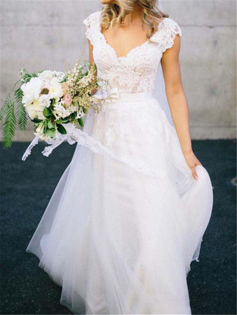 Ericdress V-Neck Cap Sleeves Lace Wedding Dress