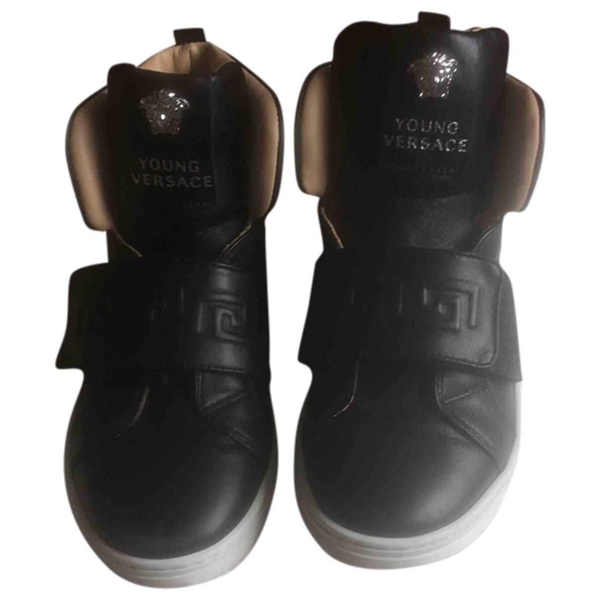 Versace - Baskets   pour enfant en cuir - noir