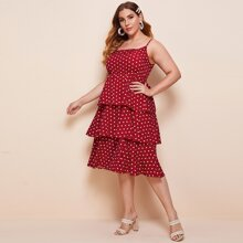 Plus Polka Dot Layered Hem Cami Dress