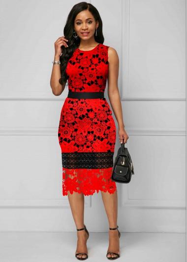Red Dresses Sleeveless Printed Round Neck Sheath Dress - XL