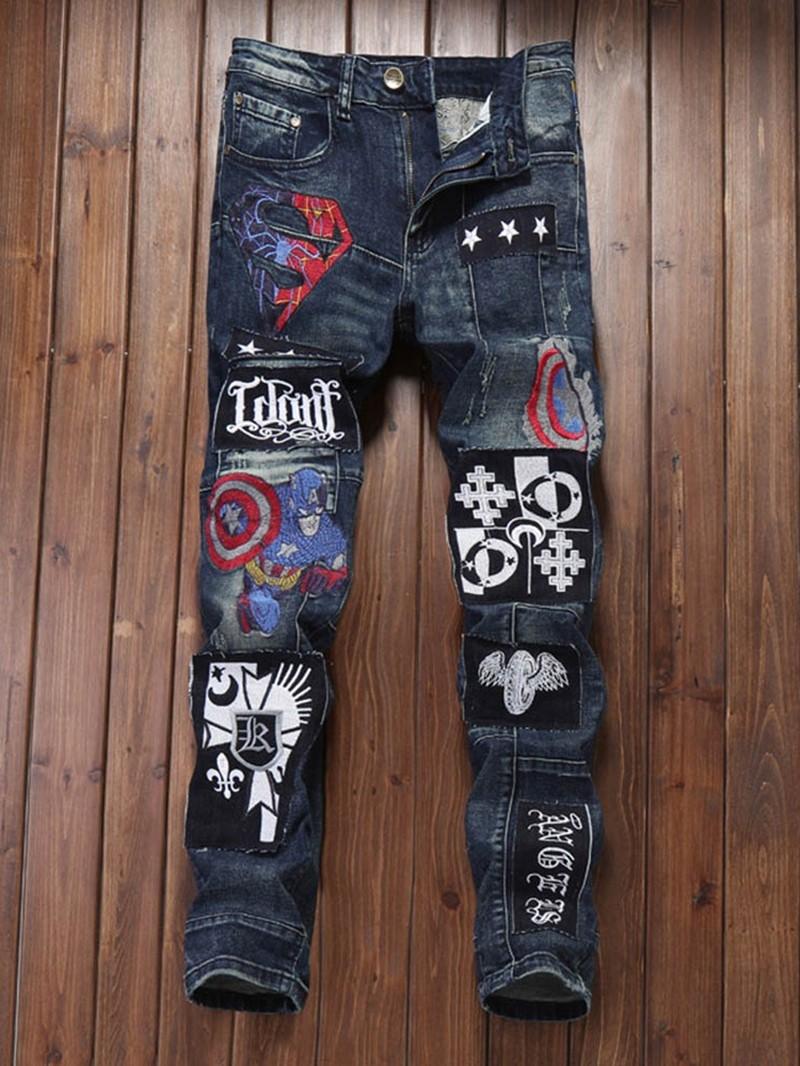 Ericdress Worn Zipper Mid Waist Men's Jeans