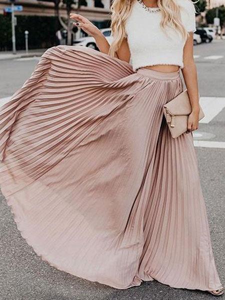 Milanoo Maxi Pleated Skirt Women Long Swing Skirt