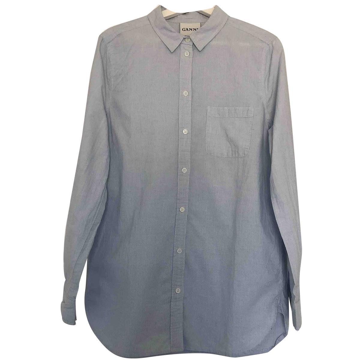 Ganni - Top   pour femme en coton - bleu