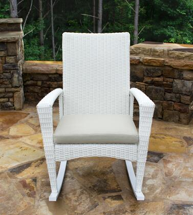 BAY-R-MAGNOLIA Bayview Rocking Chair with All-weather 1/2 Round Resin Wicker  Powder Coated Aluminum Frames and Cushion Included in Magnolia