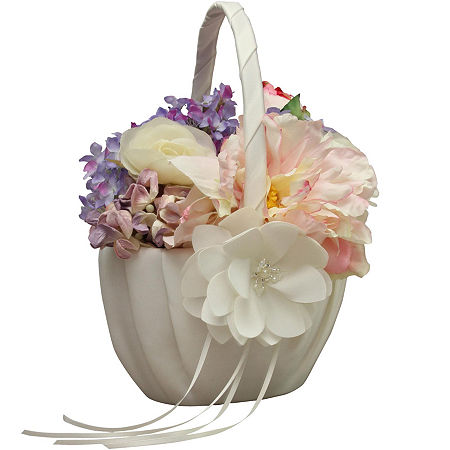 Ivy Lane Design Water Lily Flower Girl Basket, One Size , White