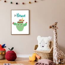 Kids Cartoon Cactus Print Wall Painting Without Frame