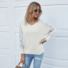 Contrast Lace Batwing Sleeve Sweater