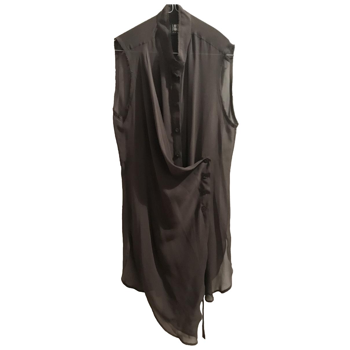 Lost & Found Ria Dunn N Khaki Silk  top for Women 42 IT
