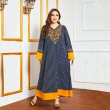 Tunik Kleid mit Streifen und Kontrast Einsatz