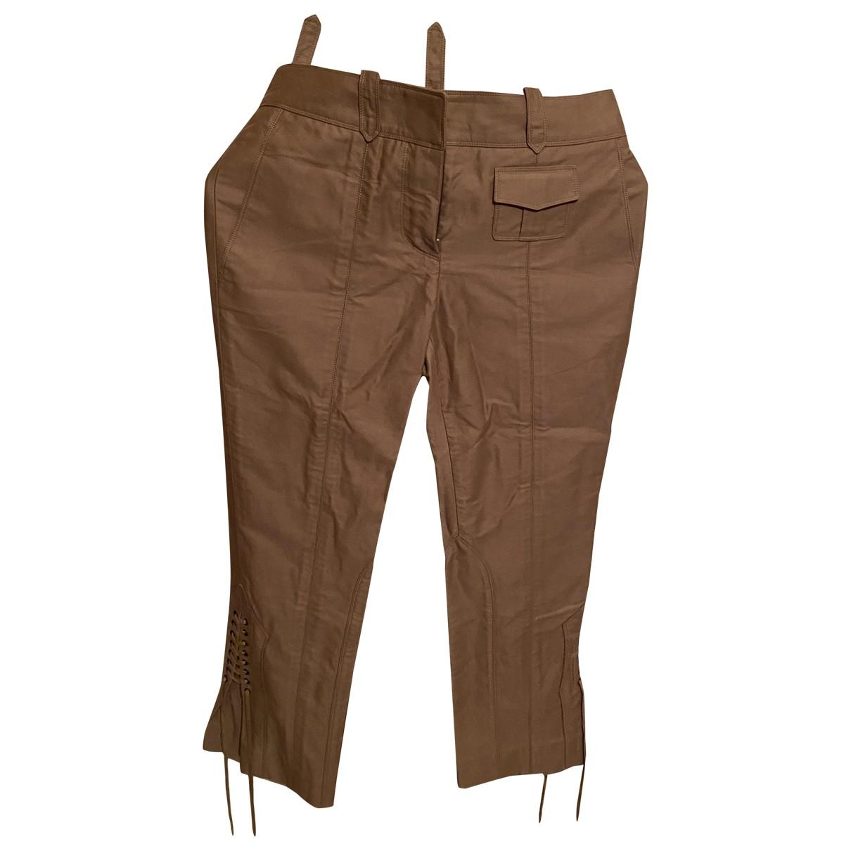 Louis Vuitton \N Beige Cotton Trousers for Women 36 FR