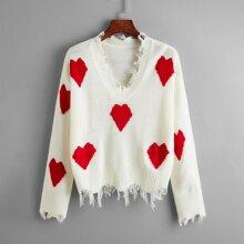 Drop Shoulder Frayed Hem Heart Sweater