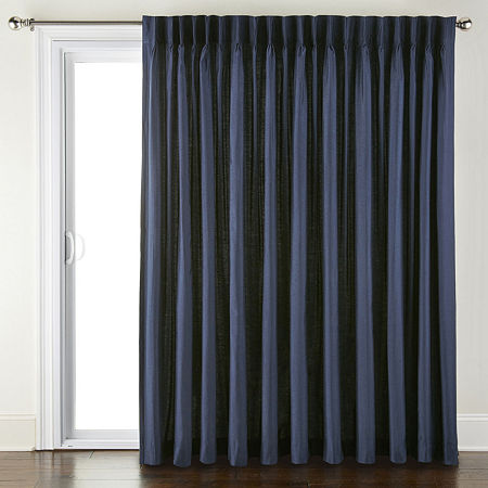 JCPenney Home Supreme Energy Saving Light-Filtering Pinch-Pleat Single Patio Door Curtain, One Size , Blue
