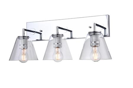 DU150W20CH 3-Light Wall Sconce with Metal and Glass Materials and 60 Watts in Chrome