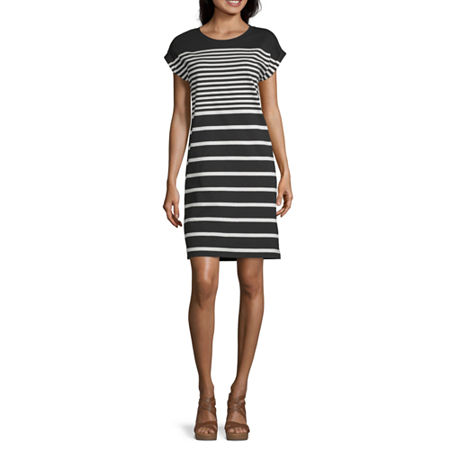 Liz Claiborne Short Sleeve Striped A-Line Dress, X-large , Black