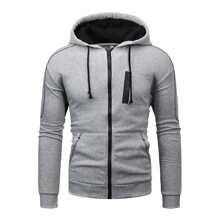 Men Zipper Pocket Drawstring Hooded Coat