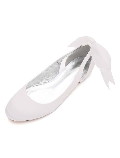 Milanoo Purple Wedding Guest Shoes Satin Round Toe Bow Slip On Wedding Shoes