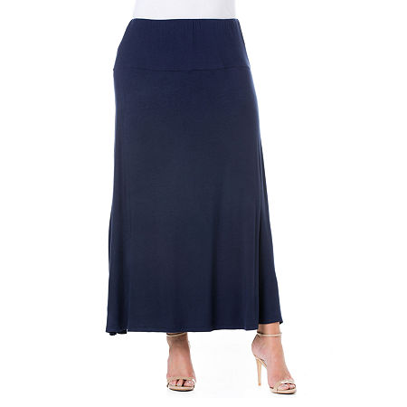 24/7 Comfort Apparel Elastic Waist Maxi Skirt - Plus, 3x , Blue