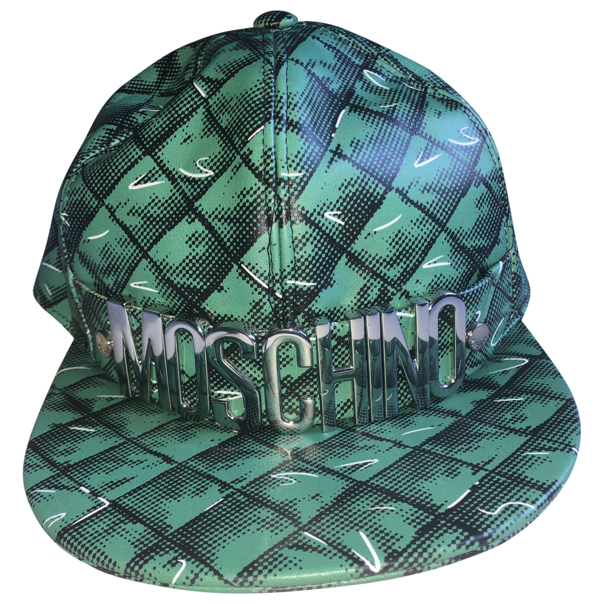 Moschino N Green Leather hat & pull on hat for Men 57 cm