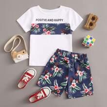 Toddler Boys Tropical Print Tee & Shorts