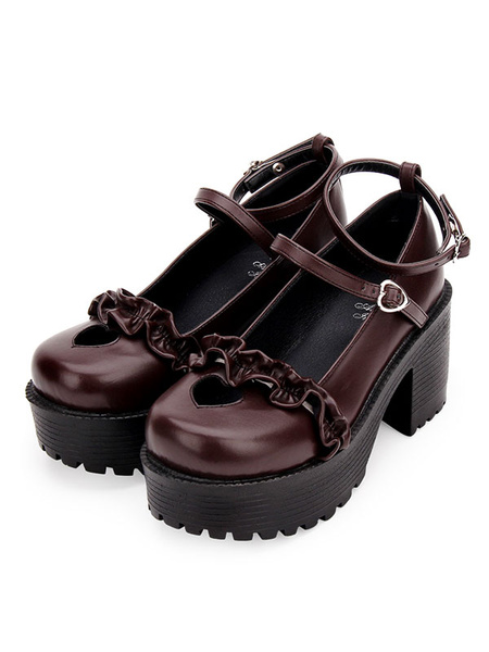 Milanoo Sweet Lolita Pumps Heart Cut Out Ruched Platform Chunky Heel Round Toe Lolita Shoes