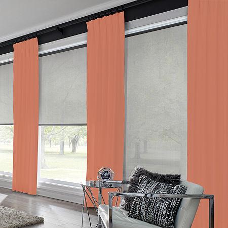 Bali Coastal Custom Light-Filtering Pinch-Pleat Single Curtain Panel, One Size , Red