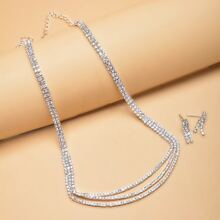 3pcs Rhinestone Decor Jewelry Set