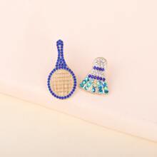 Rhinestone Decor Badminton Design Stud Earrings