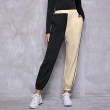 Pantalones de dos colores unido en contraste