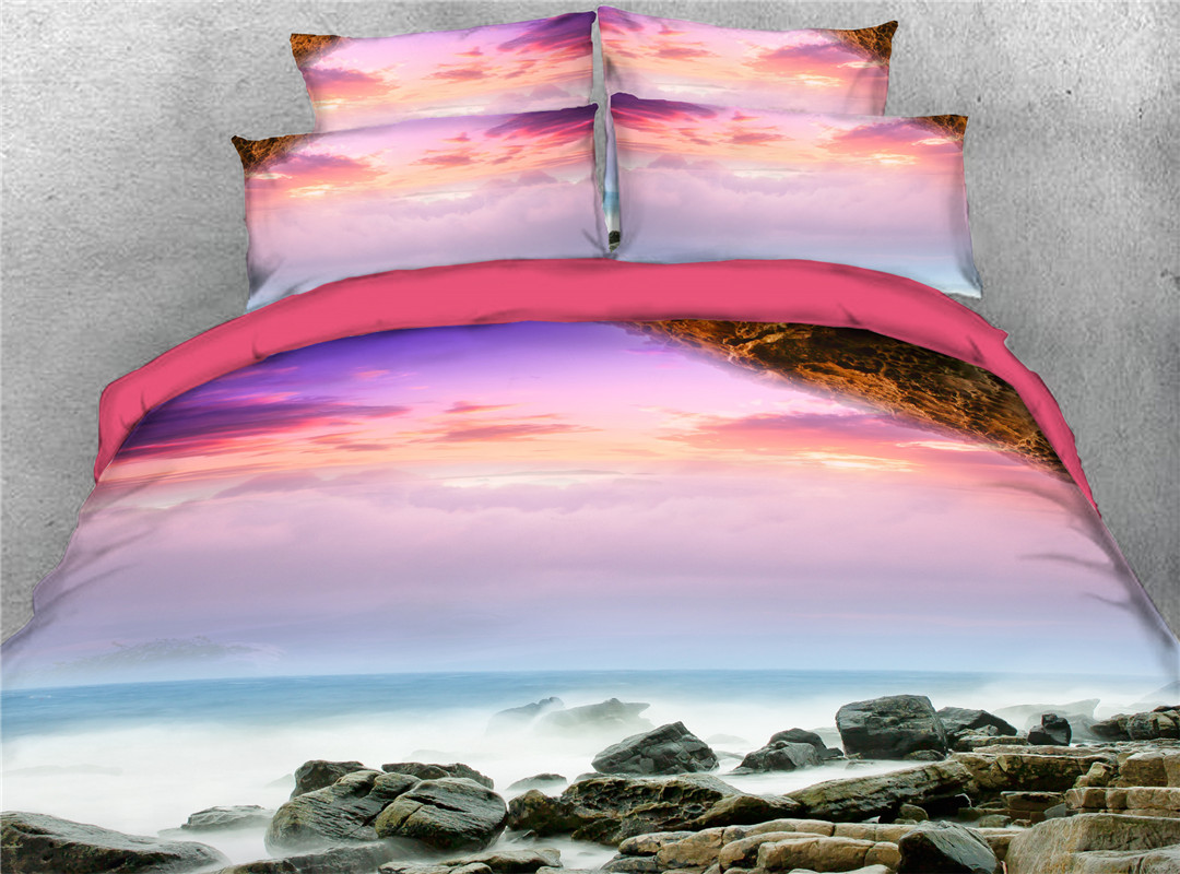 Seabeach Style Pink Cloud And Rock Hand Wash Four-Piece Set Reactive Printing Duvet Cover Set Polyester Bedding Sets