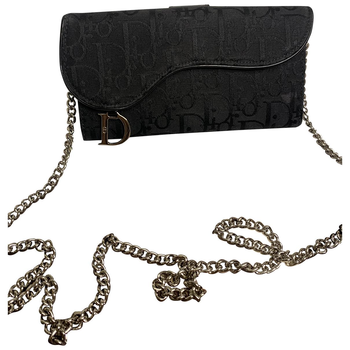 Dior - Portefeuille Saddle pour femme en toile - noir