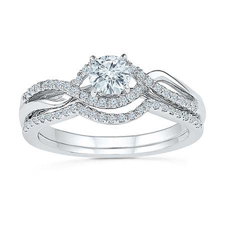 Womens 1/2 CT. T.W. Genuine White Diamond 10K White Gold Bridal Set, 4 , No Color Family